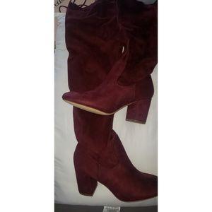 Burgundy knee high boots